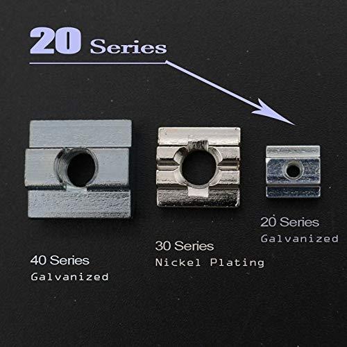 Nuts T Sliding Nut Block Square Nuts Zinc Coated Plate Aluminum for EU Standard 2020 Aluminum Profile Slot for Kossel DIY CNC - (Size: 20T-M5 X 100 pcs)