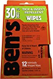 Ben's 30% DEET Mosquito, Tick and Insect Repellent Wipes, 12 Count