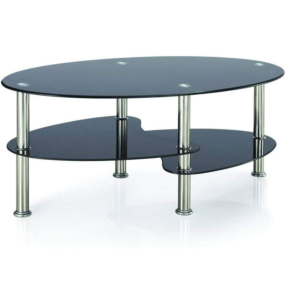 Home Discount Cara Glass Coffee Table, Black Oval Stainless Steel Legs Modern