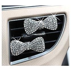 2-Pcs Crystal Bowknot Car Perfume Clip