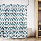 Grey and Teal Shower Curtain Cdcurtain Moroccan Geometric Striped Teal Blue and Grey Shower Curtain Set Damask Floral Decor Fabric Set Polyester Waterproof 72x72 Inch with 12-Pack Plastic Shower Hooks