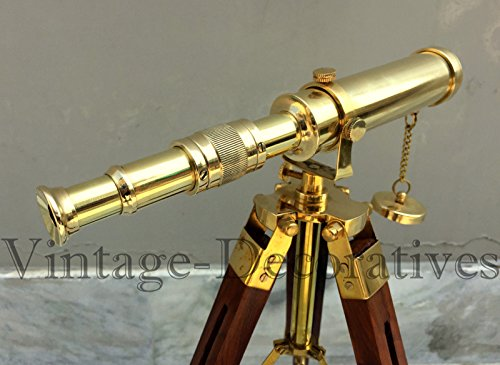 Arsh Nautical Brass Telescope Wooden Tripod Stand Table Top Pirate Working Spyglass Xmas by Arsh Nautical