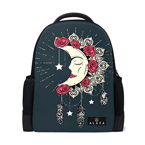 Alaza Hand Drawn Moon Mandala Dreamcatcher Feather Rose Flower Polyester Backpack School Bag For Teen Boy Girl
