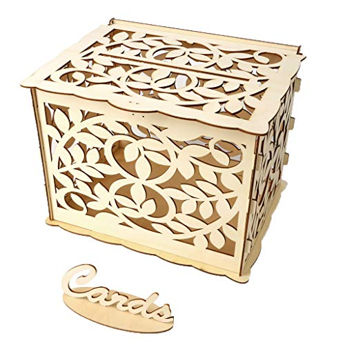 (OrchidAmor Wedding Card Box with Lock DIY Money Wooden Gift Boxes for Birthday)