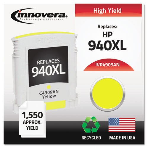 Innovera 4909AN Compatible, Remanufactured, C4909AN (940XL) Ink, 1400 Page-Yield, Yellow ()