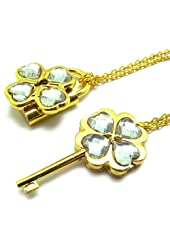 Shugo Chara! / Guardian Characters! Necklace with White Gem Key Lock Pendant