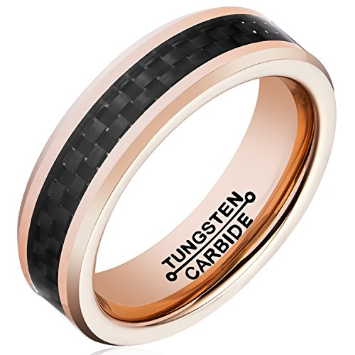 MNH Tungsten Ring Rose Gold Plated Men 6mm Black Carbon Fiber Inlay Wedding Band Size 7-13