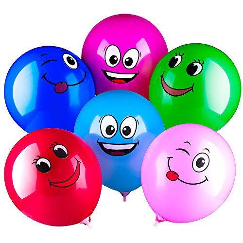 Sepco 100 Pack Party Latex Balloons Multicolor Emotion Smile Face Ballons Holiday Decoration for $<!--$12.99-->