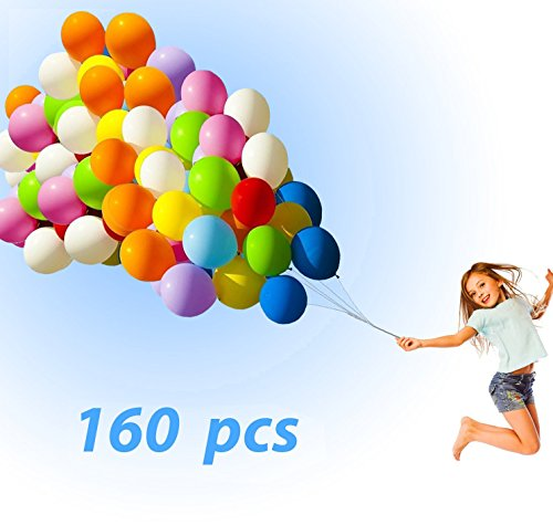Latex Balloons 160PCs Party Balloons Assorted Color Thick Premium Quality 12 inches Decorations for Birthday, Carnival Festival, Wedding, Graduation, Ceremony, (Make At Home Outdoor Halloween Decorations)