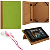 Marry Edition VG Brand Folio Stand Alone Protective Leatherette Carrying Case Cover Case Cover-(Green) for Acer Iconia TAB A100-07U08U / A110-07g08u 7-inch Android Tablets + Pink Stereo Hifi Noise Isolating Premium Headphones with Silicone Ear Tips