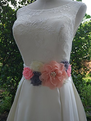 Amazon.com: Flowers maternity sash wedding sashes romantic flowers sashes (Blush): Clothing