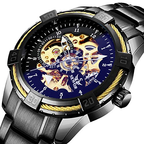 Men's Watches Black Skeleton Mechanical Fashion Business Automatic Punk Style with Stainless Steel Band Wrist Watch ()
