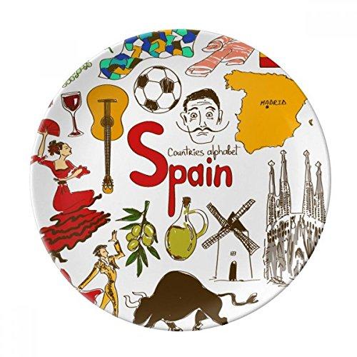 Spain Landscap Animals National Flag Dessert Plate Decorative Porcelain 8 inch Dinner Home by DIYthinker