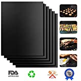 ARTIST Grill Mat Set of 6 100% Non-Stick BBQ Grill & Baking Mats Reusable and Easy to Clean, FDA-Approved Grill Pads