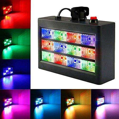 Strobe Lights, SOLMORE 15W 12 LED RGB Flash Lights Stage Lights Disco DJ Light Sound Activated Background Stage Lighting for Wedding KTV Party Show Club Pub Parties Live Concert Decoration AC 90-240V