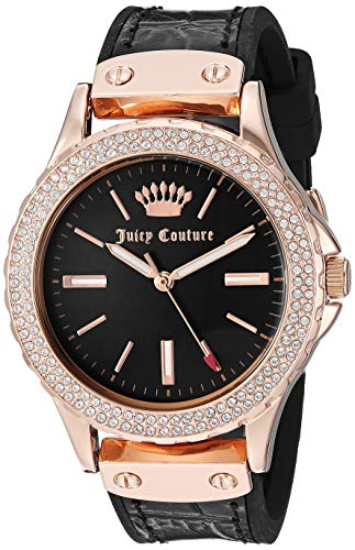 Juicy Couture Black Label Women's  Swarovski Crystal Accented Rose Gold-Tone and Black Leather Strap Watch