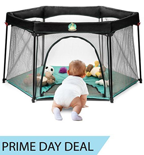 Pack and Play Portable Playard Play Pen for Infants and Babies - Lightweight Mesh Baby Playpen with Carrying Case - Convenient Summer Pop n' Play Play Yard - Easily Opens (Baby Playard)