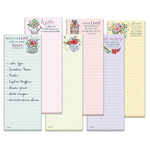 Inspirational Lined Magnetic Shopping List Pads - Set of 12 (1 of each design) Small memo pads: 2-1/2'' x 6-1/2'' tall, Scripture & religious quotes, Religious memo pads by Current
