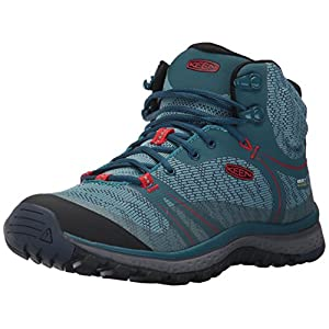 KEEN Women's Terradora Mid WP-w Hiking Shoe, Blue Coral/Fiery Red, 8.5 M US