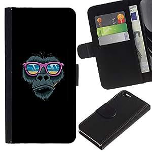 YiPhone /// Tirón de la caja Cartera de cuero con ranuras para tarjetas - Pink Beach Gafas de sol del gorila - Apple Iphone 6