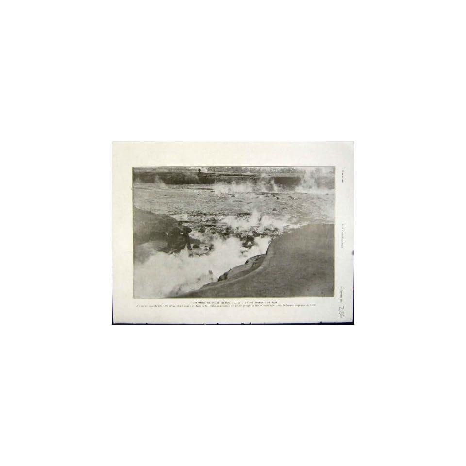 Eruption Volcano Merapi Java Lava French Print 1931