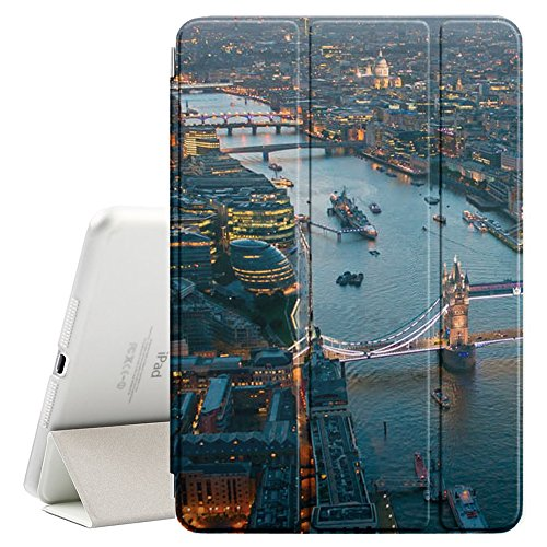 Graphic4You London Aerial View Postcard Design Ultra Slim Case Smart Cover Stand [with Sleep / Wake Function] for Apple iPad 2017 (9.7