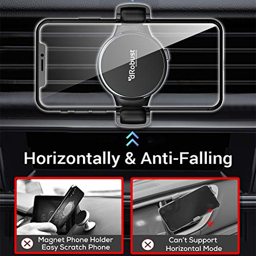 dRobust Air Vent Phone Holder -Unique&Innovative Roller System- Cell Phone Holder for Car Vent - Car Phone Mount - Phone Cradle Compatible with iPhone Xs XS Max XR X 8 8+ 7 7+ 6+ 6 Samsung (Air Vent)