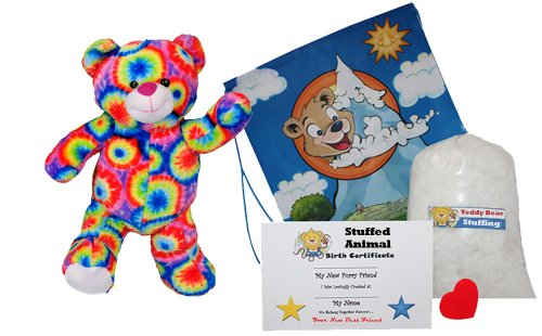 Make Your Own Stuffed Animal ''Rainbows the Bear'' - No Sew - Kit With Cute Backpack! by Stuffems Toy Shop