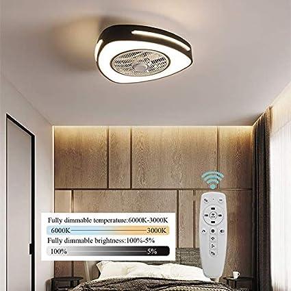 Ventilador De Techo LED con Luz De Iluminación Plafón Lámpara Regulador Regulable Bombilla 46W Fan Silencioso Invisible Reversible Velocidad del Viento Ajustable Infantil Dormitorio Salón,Negro,D