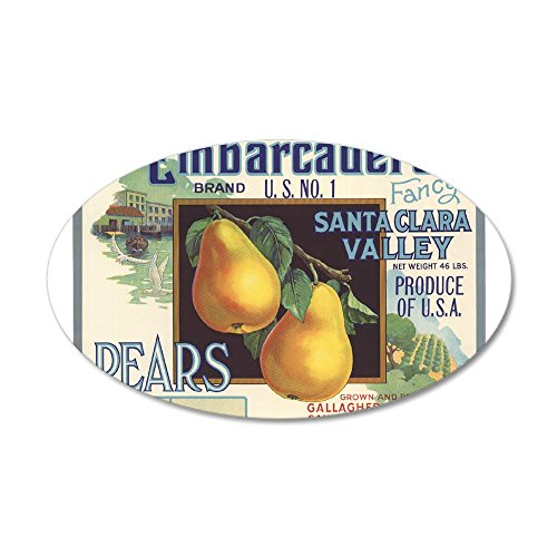 CafePress - Vintage Fruit Vegetable Crate Label Wall Decal - 35x21 Oval Wall Decal, Vinyl Wall Peel, Reusable Wall Cling