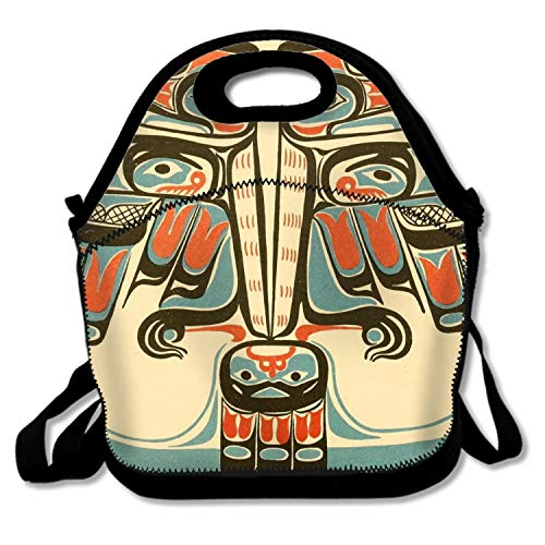 (Qeeww Lunch Box Bag Haida Thunderbird Insulated Lunch Tote with Detachable Adjustable Shoulder Strap)