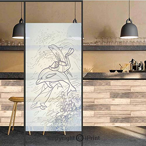 3D Decorative Privacy Window Films,Sketch of Scuba Diver Holding Fin of Dolphin over Coral Reefs Fish Underwater,No-Glue Self Static Cling Glass film for Home Bedroom Bathroom Kitchen Office 24x48 Inc (Coral Reef Fish Cut Outs)