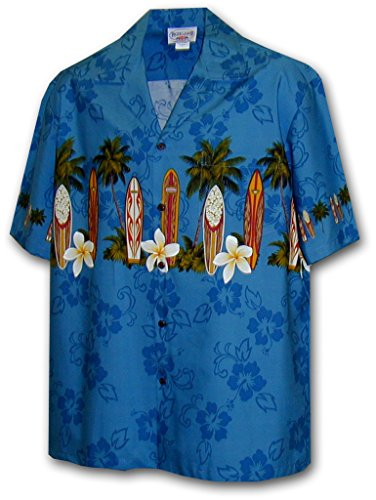 Surfboards Hawaiian Shirt (PL Men's Summer Surfboards Hawaiian Shirt Blue Medium)