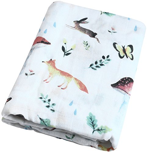 Swaddle Blankets Muslin -Woodland Blanket Large Size 47x 47 Receiving Blanket - 70% Bamboo / 30% Cotton Gender Neutral Baby Blanket by Little Jump (Woodland)