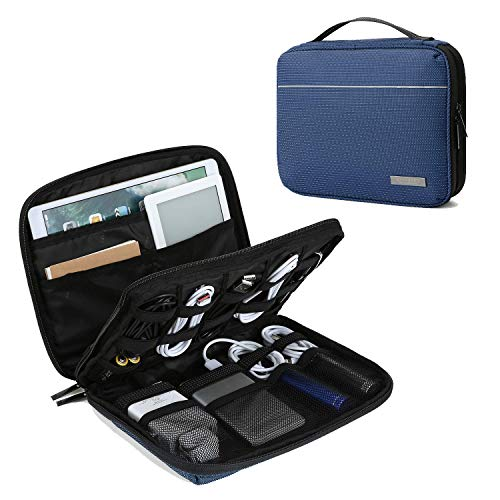 "BAGSMART Electronic Organizer 2-Layer Travel Cable Organizer Cases for 10.5"" iPad, Cables, Chargers, USB Drive, Dark Blue (Renewed)"