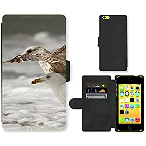 PU Cuir Flip Etui Portefeuille Coque Case Cover véritable Leather Housse Couvrir Couverture Fermeture Magnetique Silicone Support Carte Slots Protection Shell // F00000045 pájaro // Apple iPhone 5C