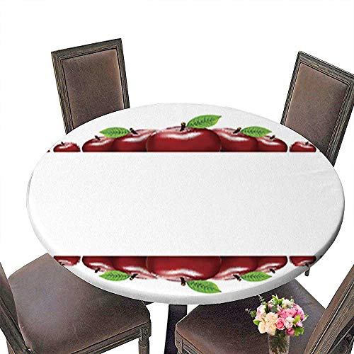 """Polyester Round Tablecloth Table Cover,Border of red Apples Template for Your Design for Dining Room up to 51.5""""-53.5"""" Diameter"""