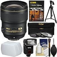 Nikon 28mm f/1.4E AF-S ED Nikkor Lens with Flash + Pistol Grip Tripod + 3 Filters + DVD + Kit