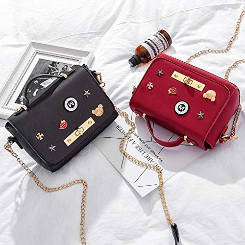 Como Badge Messenger Tamaño Eeayyygch Sweet Muestra Tamaño Chain Muestra Buckle Un Rojo color Bag Bag Lady Se vwASqx