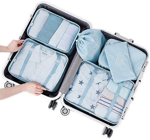 Arxus 8 Set Travel Waterproof Packing Organizers Cubes with Shoe Bag and Toiletry Bag (Light Blue) - Rick Steves Suitcase