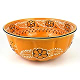 Hand-painted Large Round Bowl in Mango - Encantada Pottery