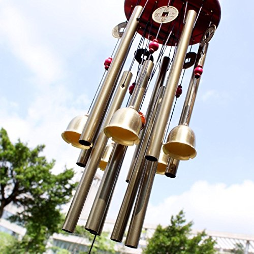 BWINKA Chinese Traditional Amazing 10 Tubes 5 Bells Bronze Yard Garden Outdoor Living Wind Chimes 85cm
