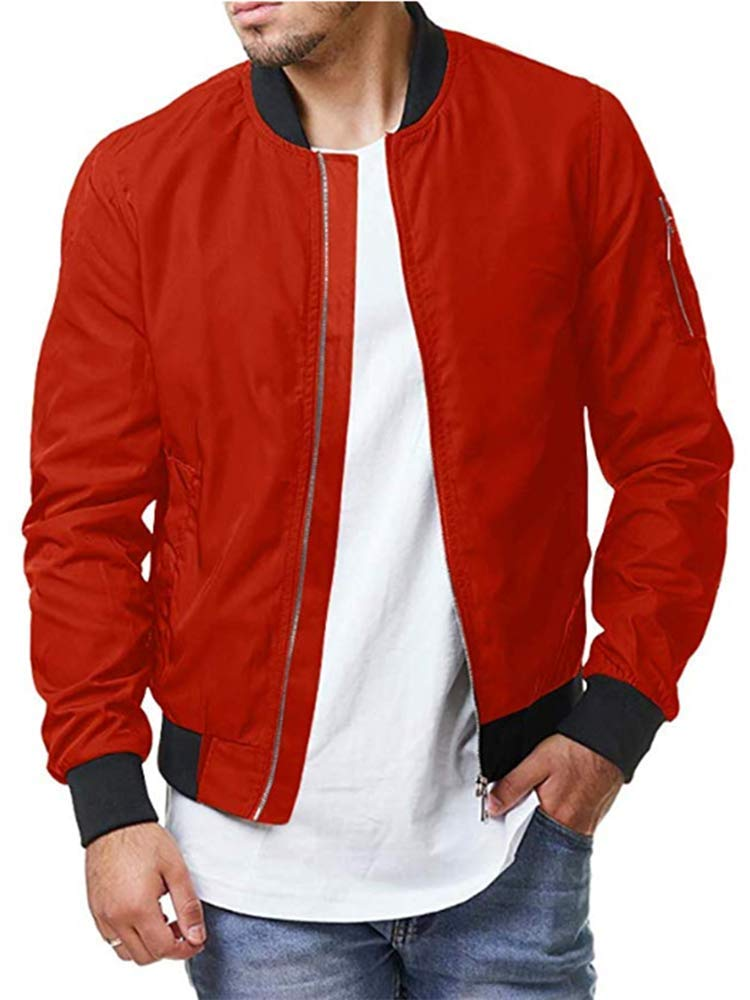 Enjoybuy Mens Lightweight Bomber Jackets Fall Winter Outerwear Full Zip Up Baseball Varsity Jacket Red by Enjoybuy