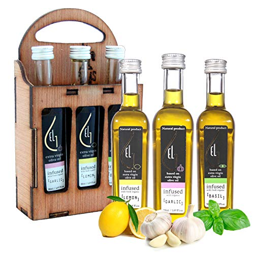 Pellas Nature | Fresh Organically Infused Extra Virgin Olive Oil | Garlic - Lemon - Basil | Wooden Gift Set | French Glass Bottles | 3 x 50ml