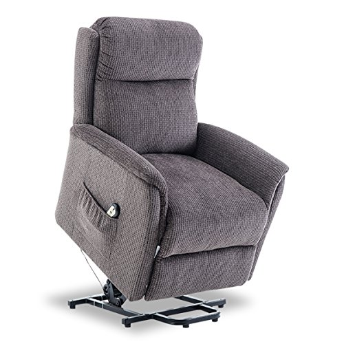 BONZY Lift Chair Power Lift Recliner Soft and Warm Fabric with Remote Control for Gentle Motor – GRAY