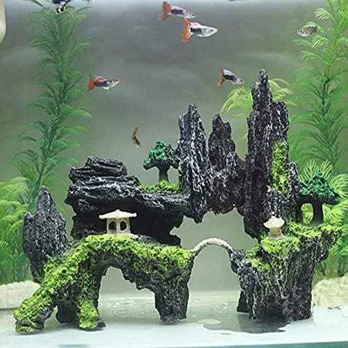 (HIGHMIGOU Castle Mountain View Rockery Landscpe Decor Rock Hiding Cave Tree Artificial Aquarium Ornament Fish Tank Decoration (24cm17cm9cm))