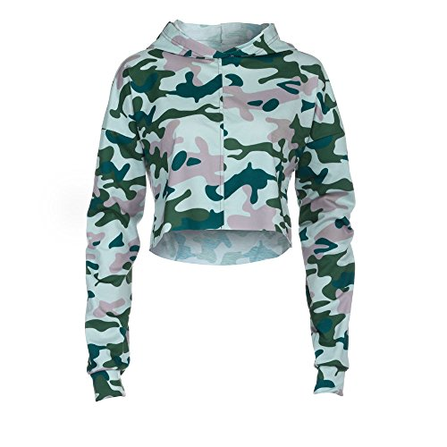 Challyhope Women Camouflage Hooded Casual Long Sleeve Sweatshirt Pullover Crop Tops (M, Camouflage) by Challyhope (Image #4)