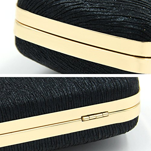 Cocktail Black Solid Glitter Clutches Pleated Party Purse Bridal Clutch Evening For Women zHPqawZ