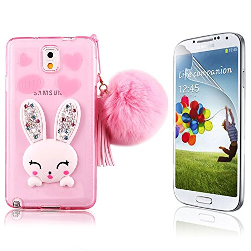 Samsung Galaxy Note 5 Rabbit Case Cover Cute, Bonice Cartoon Rabbit Bling Diamond Crystal Soft TPU Cute Ear Stand Silicone Case with Hairball Pompon Wristlet + HD Screen Protector, Pink