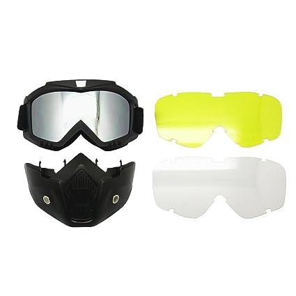 Motocicleta Bici de la Suciedad ATV Gafas Máscara Desmontable Harley Estilo Proteger Acolchado Casco Gafas de Sol Montura en Carretera UV Gafas de ...